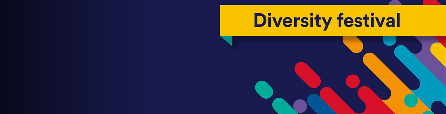 keywords: Diversity festival on yellow ribbon that covers colour blocks and a navy blue background
