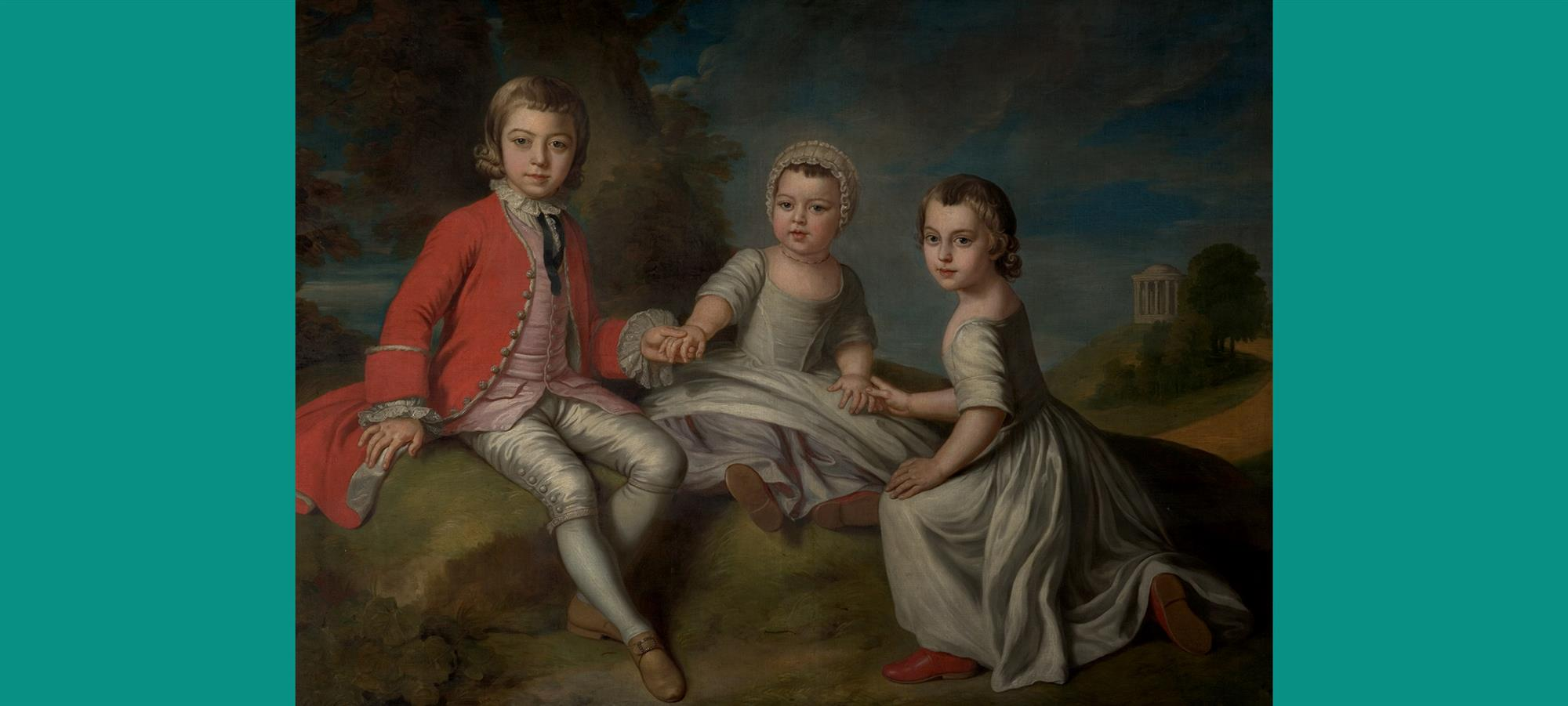 Painting by William Hoare of Bath depicting the Duke of Newcastle's three small children
