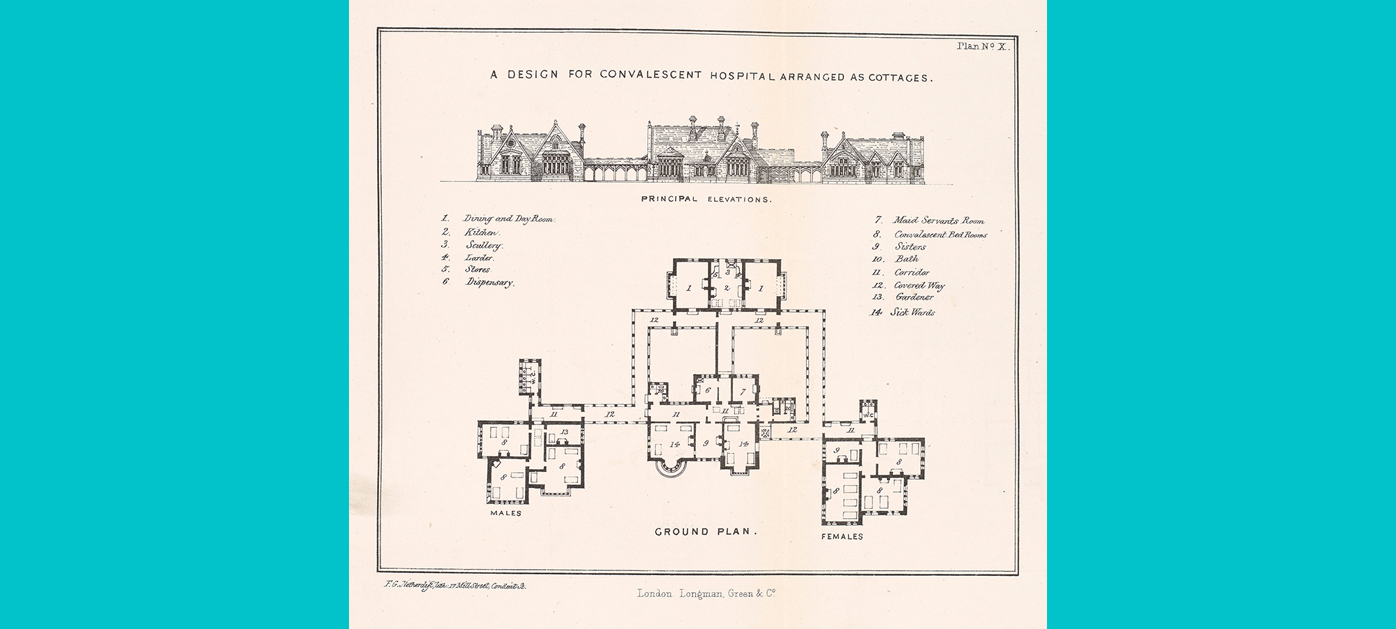 scan of a drawn birds eye architectural plan of a convalescent hospital