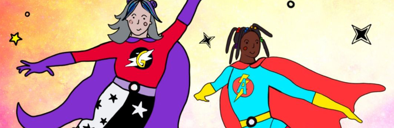 Illustration of a granny and grand-daughter wearing super hero outfits with stars around them