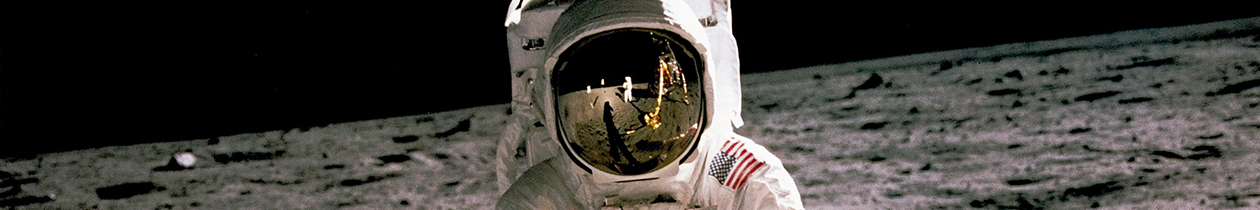 Astronaut in space standing with moon surface in background and black