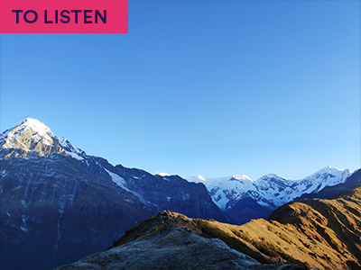 Photograph of mountain range in Nepal with keyword:TO LISTEN
