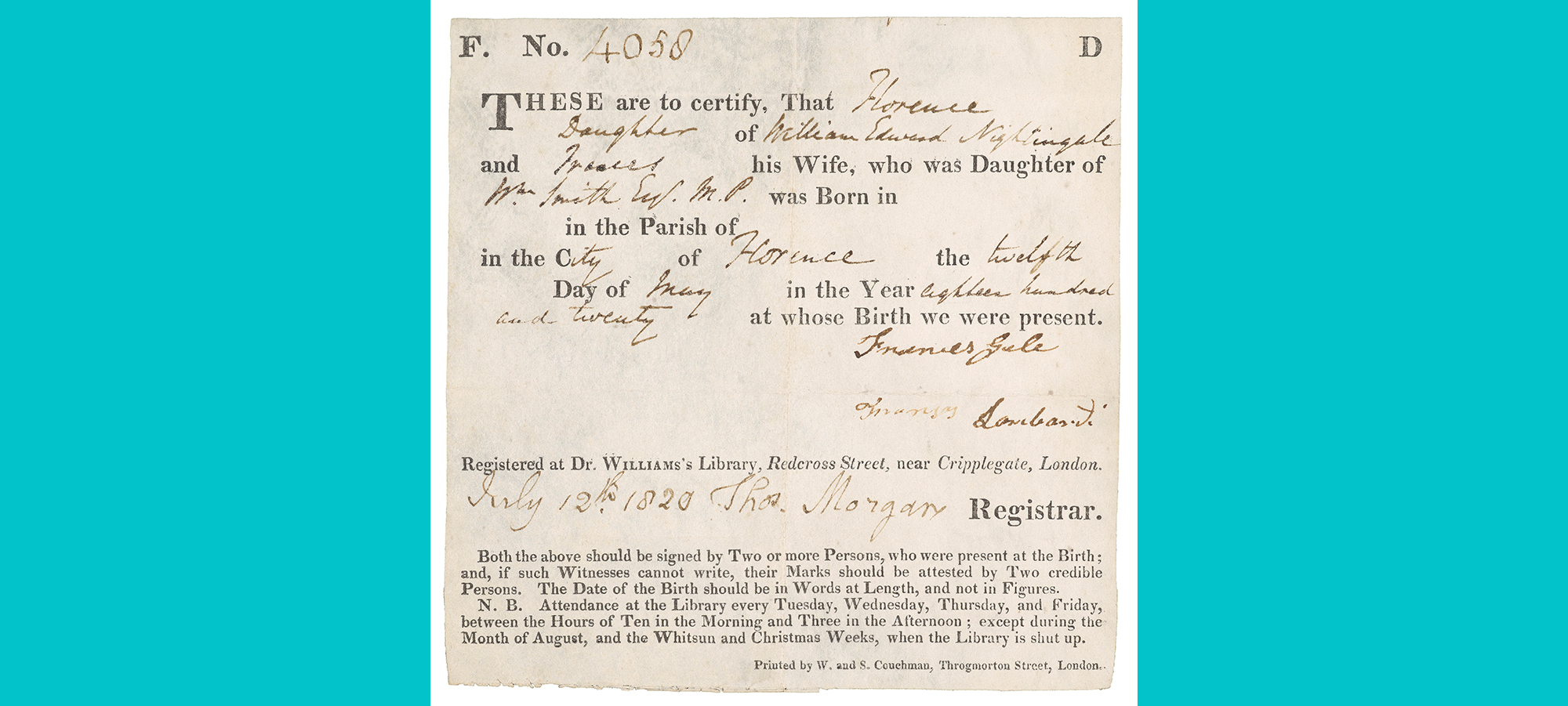 Certificate of Florence Nightingale's birth displaying print and hand writing
