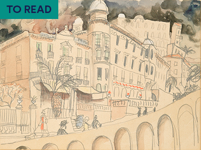 Watercolour by Christopher Wood depicting a road in Monte Carlo with people walking in the foreground