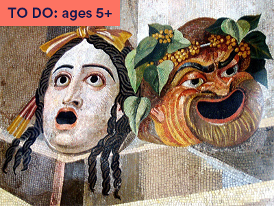 Theatre masks artwork from Roman times. Keyword TO DO: 5+