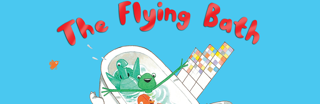 Doodle title A Flying Bath with a smiling turtle bathing