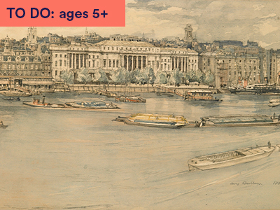 Henry Rushbury's watercolour painting of Custom House, 1932 which depicts old vision of London buildings situated on the banks of the River Thames with many long wooden boats in water.