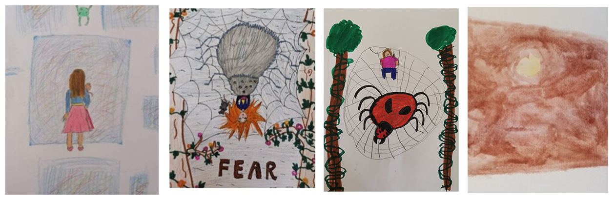 Coloured drawings by children including girl, spiders web, trees with green tops and brown house