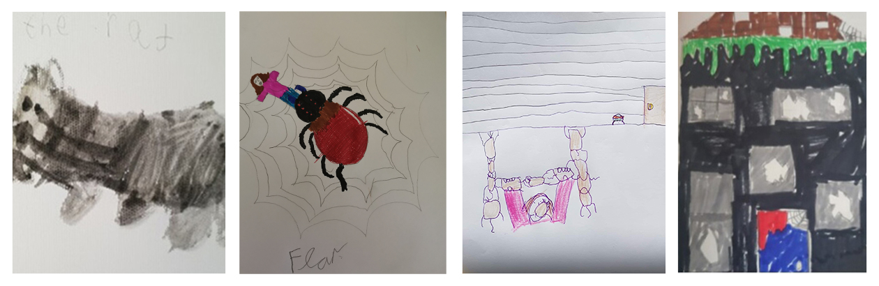 Coloured drawings by children including a mouse, spider, grey house and black house