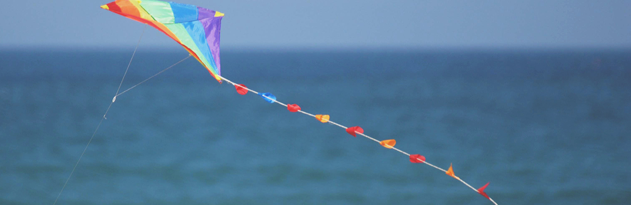 Multi coloured kite in blue sky and over blue sea