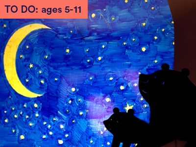 Big bear and little bear made from black card against a blue sky, yellow moon and stars. Keywords in corner: TO DO: ages 5-11