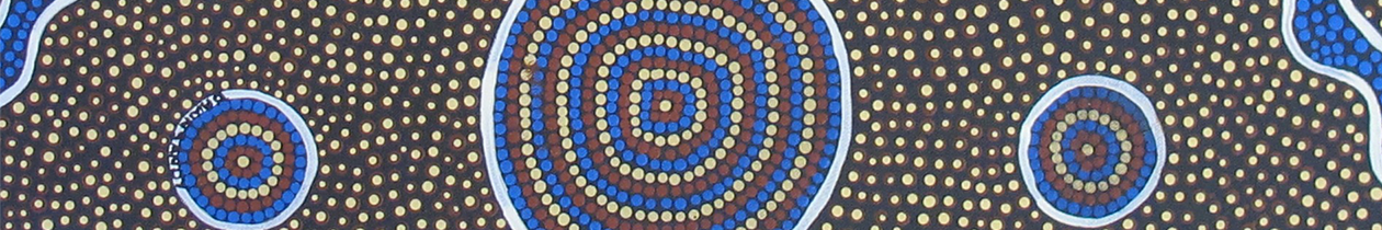 Blue, white, red and yellow coloured dots situated as symmetrical artwork. A large circle is positioned in the middle with a small circle on the left and right.