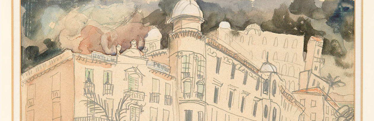 Detail of a watercolour by Christopher Wood showing the top of a series of buildings