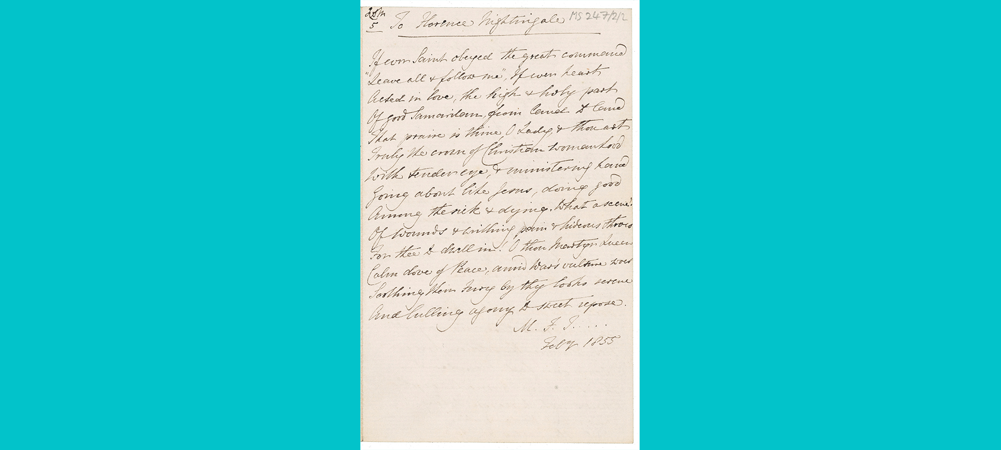 scan of handwritten poem to Florence Nightingale