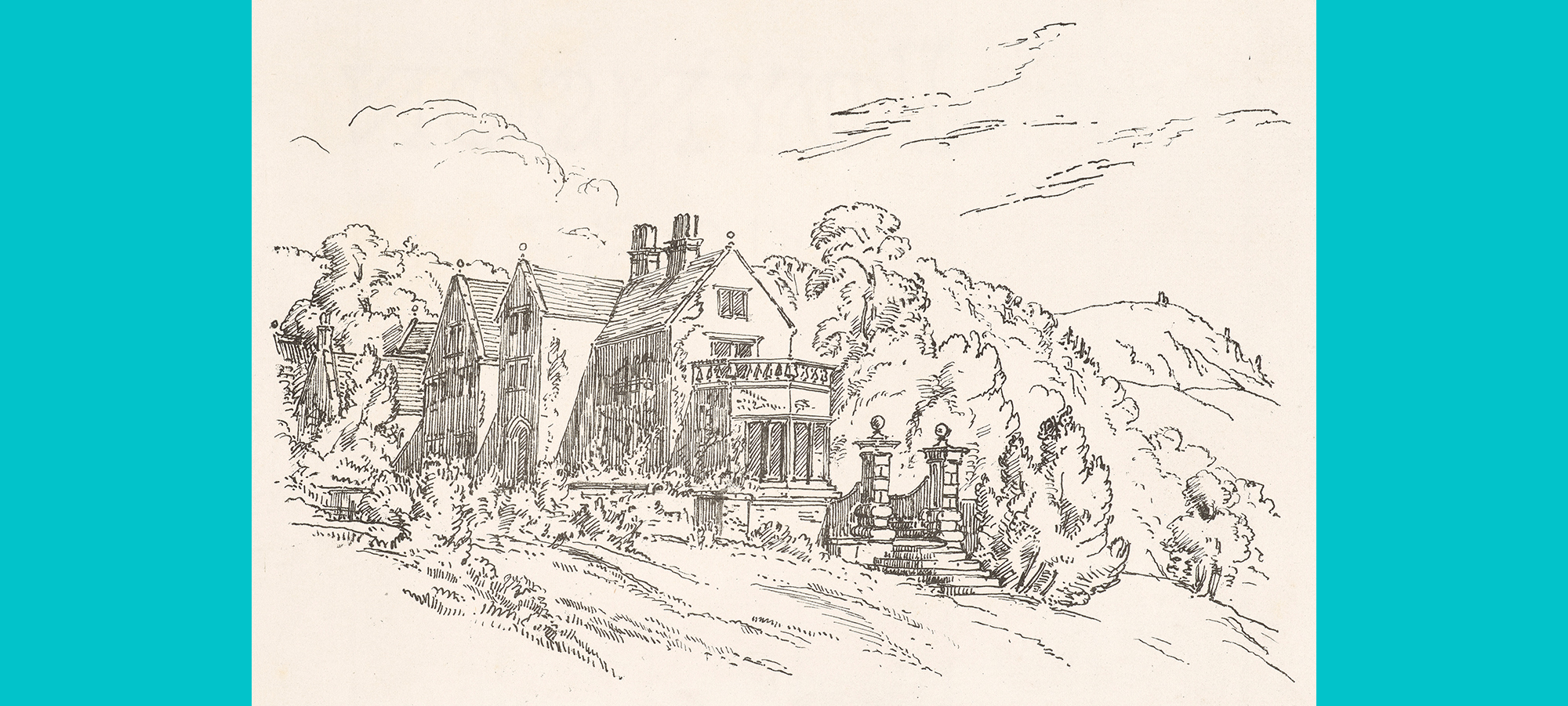 Print sketch of a house with surrounding trees