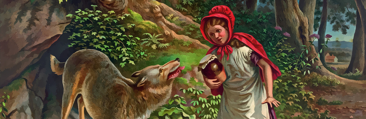 a drawing of Little Red Riding Hood in the woods talking to the wolf