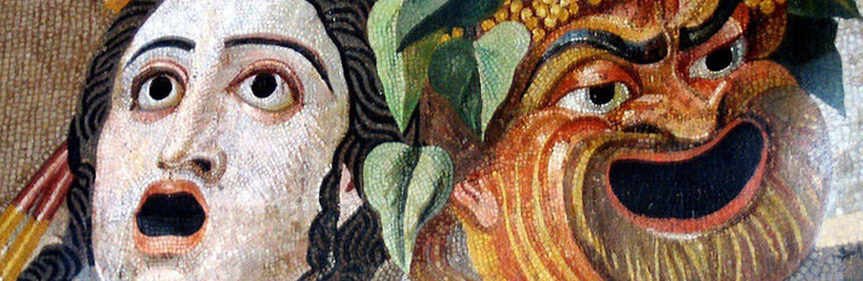Painting of traditional masks. On left is lady with gasping expression and on right is a joker