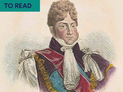 Illustration of George IV in pint attire. Keyword in right corner: TO READ
