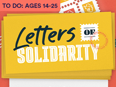 a drawing of letters pencils and stamps with the title LETTERS OF SOLIDARITY