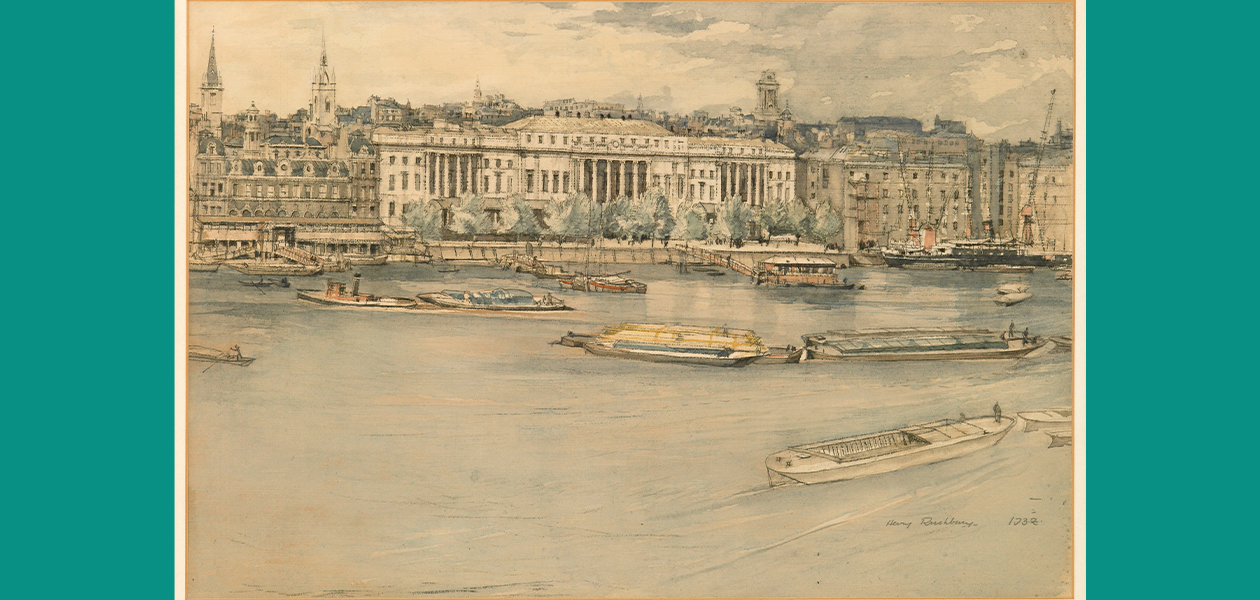 Full image of Henry Rushbury's watercolour of the urban landscape of London across the Thames with the Custom House in the middlen and boats in the foreground on the river