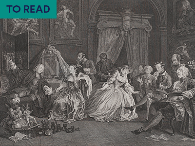 Engraving of an 18th century social gathering by William Hogarth
