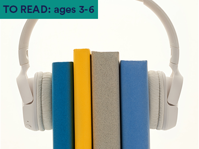 four stacked books with headphones around them. Keyword in the corner FOR FAMILIES