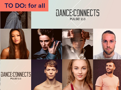 A collage of Joss Arnott dance company's dancers' portraits wifh their logo and DANCE:CONNECTS written in the middle