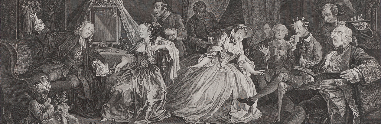Detail of an engraving by William Hogarth showing an 18th century social gathering