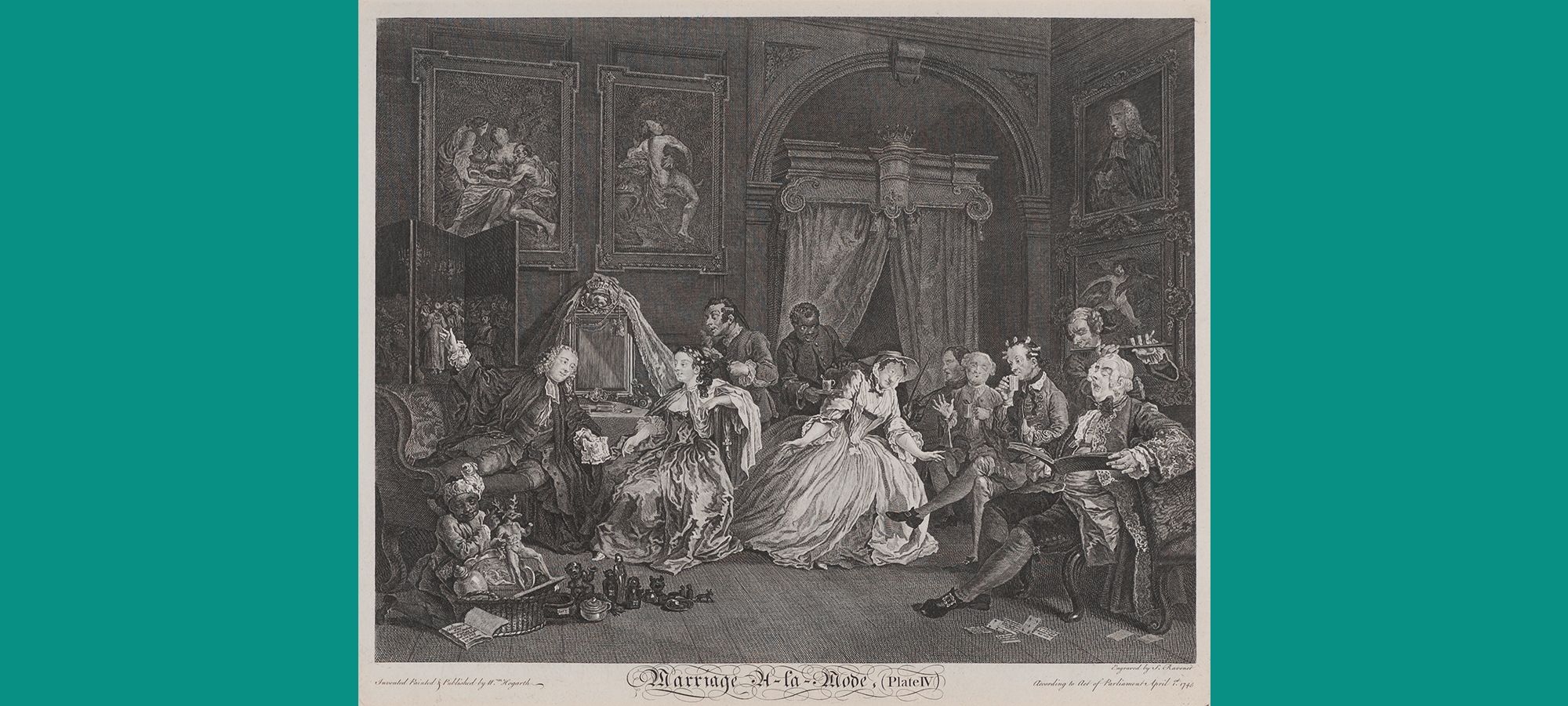 Full image of William Hogarth's engraving depicting a social gathering of a wife