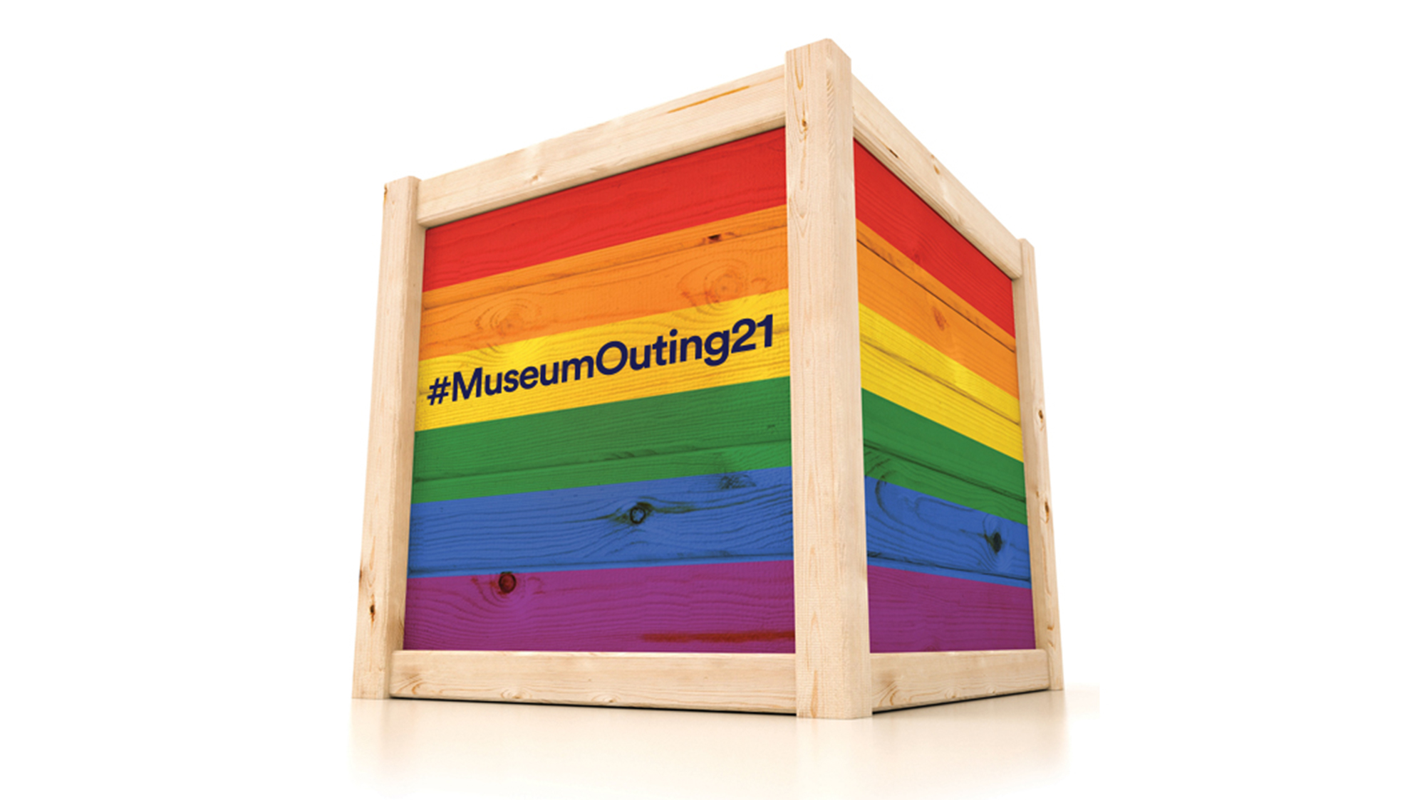 Photo of multicolours crate box with keywords: #MuseumOuting21