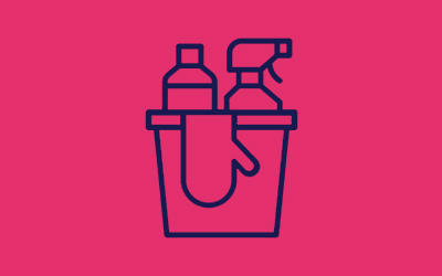 cleaning bucket icon in pink background