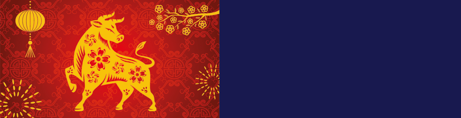 Chinese New Year Celebrations. Gold Ox overlayed onto red background