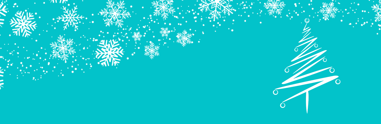 bright blue banner with snowflake and a Christmas tree on it