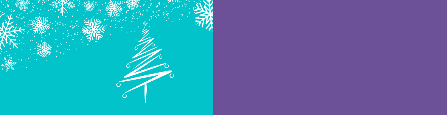 the outline of a christmas three with snowflakes falling on a blue background