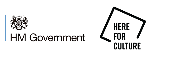 HM Gov and Here For Culture Logos