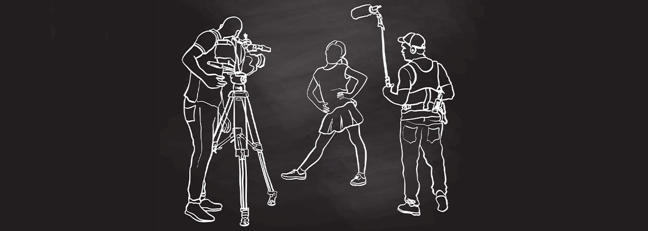 drawing on black background with the outlines of camera crew photographing a woman