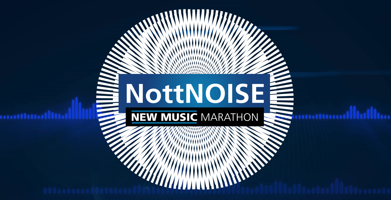 NottNOISE New Musiv Marathon wording on top of a blue soundwavy background