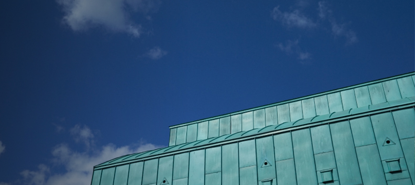 Lakeside green roof against blue sky