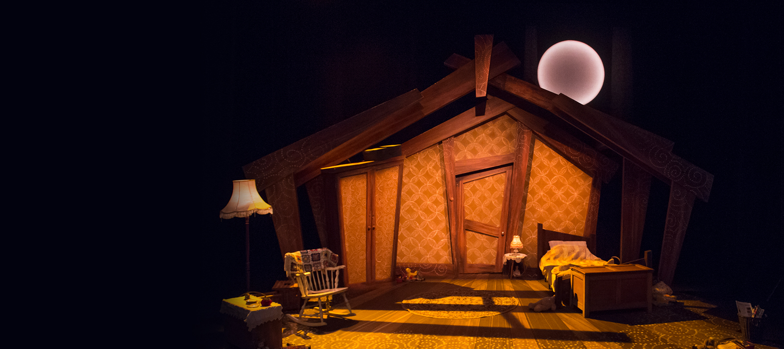 Photo of a cozy home a production shot of Little Red Riding Hood