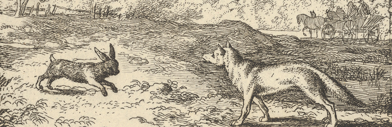 Picture of rabbit and fox from old story book