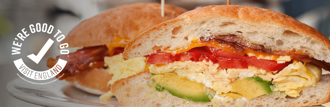 Up close photograph of a sandwich with WE'RE GOOD TO GO kitemark