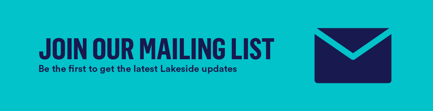 Aqua background with keywords: Join our mailing list: be the first to get the latest lakeside updates