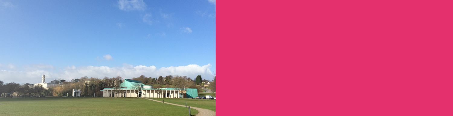 Image of Lakeside DH Lawrence Pavilion from exterior. Large green field and blue sky with pink text box to right