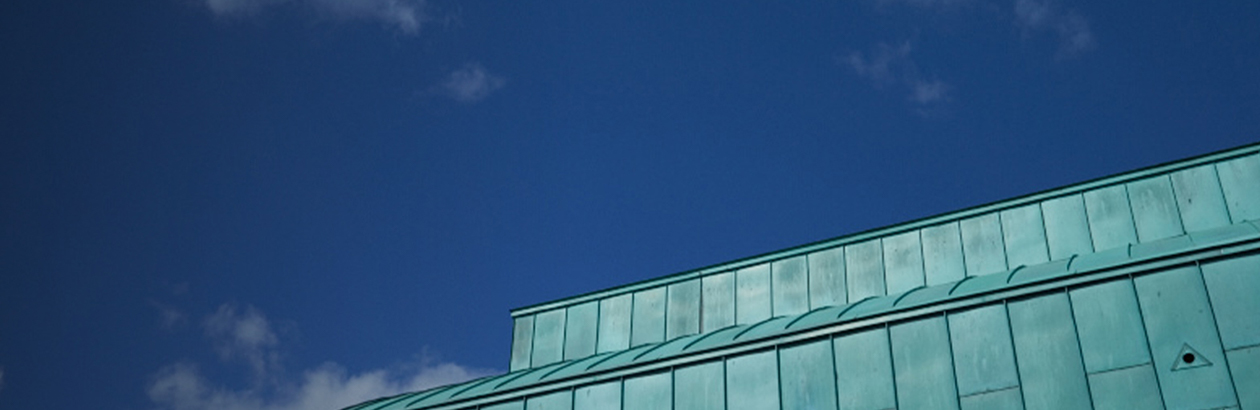 A photo of the Lakeside Arts building's roof against a blue sky